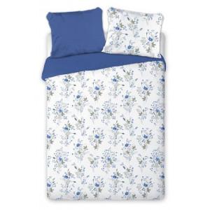 Obojstraenné posteľné obliečky s motívom modrých kvetov