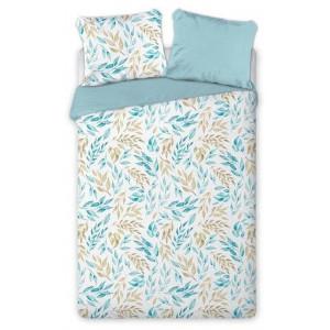 Biele posteľé obliečky s modrohnedými listmi