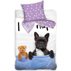 Detské bavlnené posteľné obliečky so spiacim psíkom