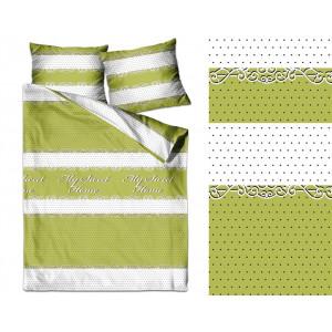 Krásne zelene bavlnené posteľné obliečky MY SWEET HOME