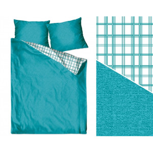 Tyrkysové bavlnené obojstranné posteľné obliečky