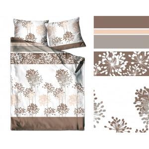 Biele posteľné obliečky so vzorom hnedých kvetov