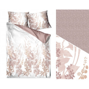 Biele posteľné obliečky s motívom béžových kvetov