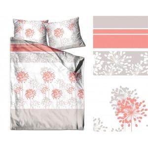 Biele posteľné obliečky s motívom oranžových kvetov