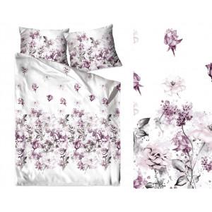 Biele posteľné obliečky s motívom fialových kvetov