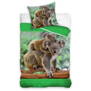 Bavlnené posteľné obliečky s potlačou koaly 3D