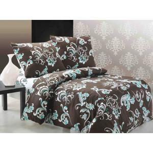 Hnedé bavlnené posteľné obliečky s tyrkysovým ornamentom
