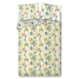 Biele posteľné obliečky s motívom žlto zelených kvetov