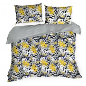 Biele posteľné obliečky s motívom žltých listov