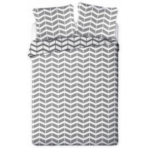 Šedobielé geometrické posteľné obliečky