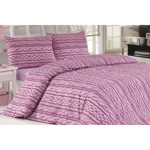 Fialové posteľné obliečky s efektom pleteného materiálu