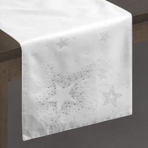 Vianočný obrus štóla v bielo striebornej kombinácii
