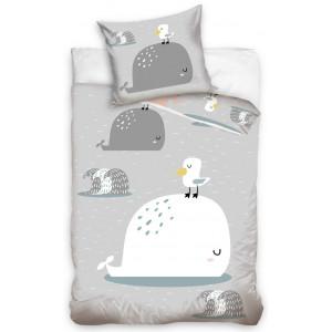 Detské bavlnené posteľné obliečky sivej farby so zvieratkami