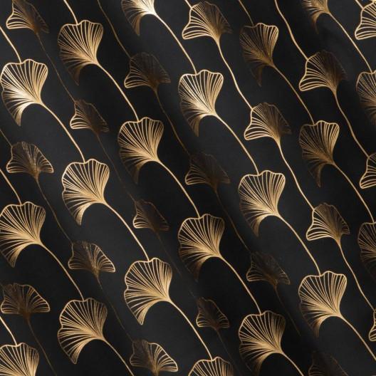 Moderné závesy so zlatou potlačou v čiernej farbe