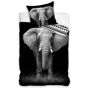 Bavlnené posteľné obliečky s potlačou slona 3D