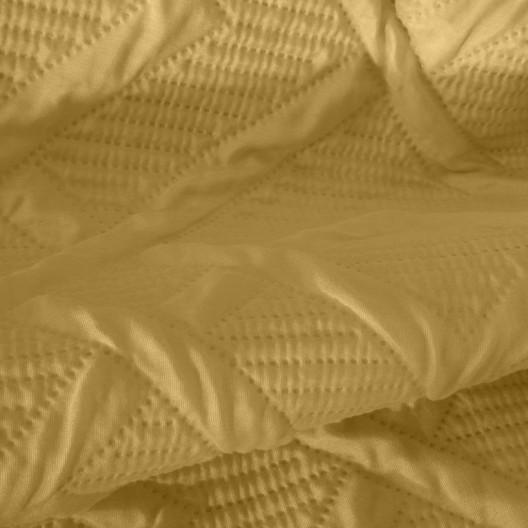 Moderný prehoz s potlačou v horčicovej farbe