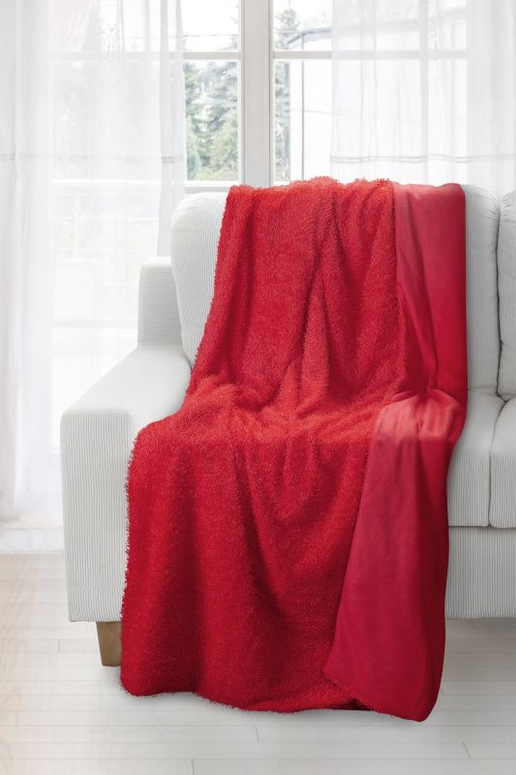 Červená kvalitná huňatá deka jemná na dotyk Šírka: 70 cm. dł. 150 cm