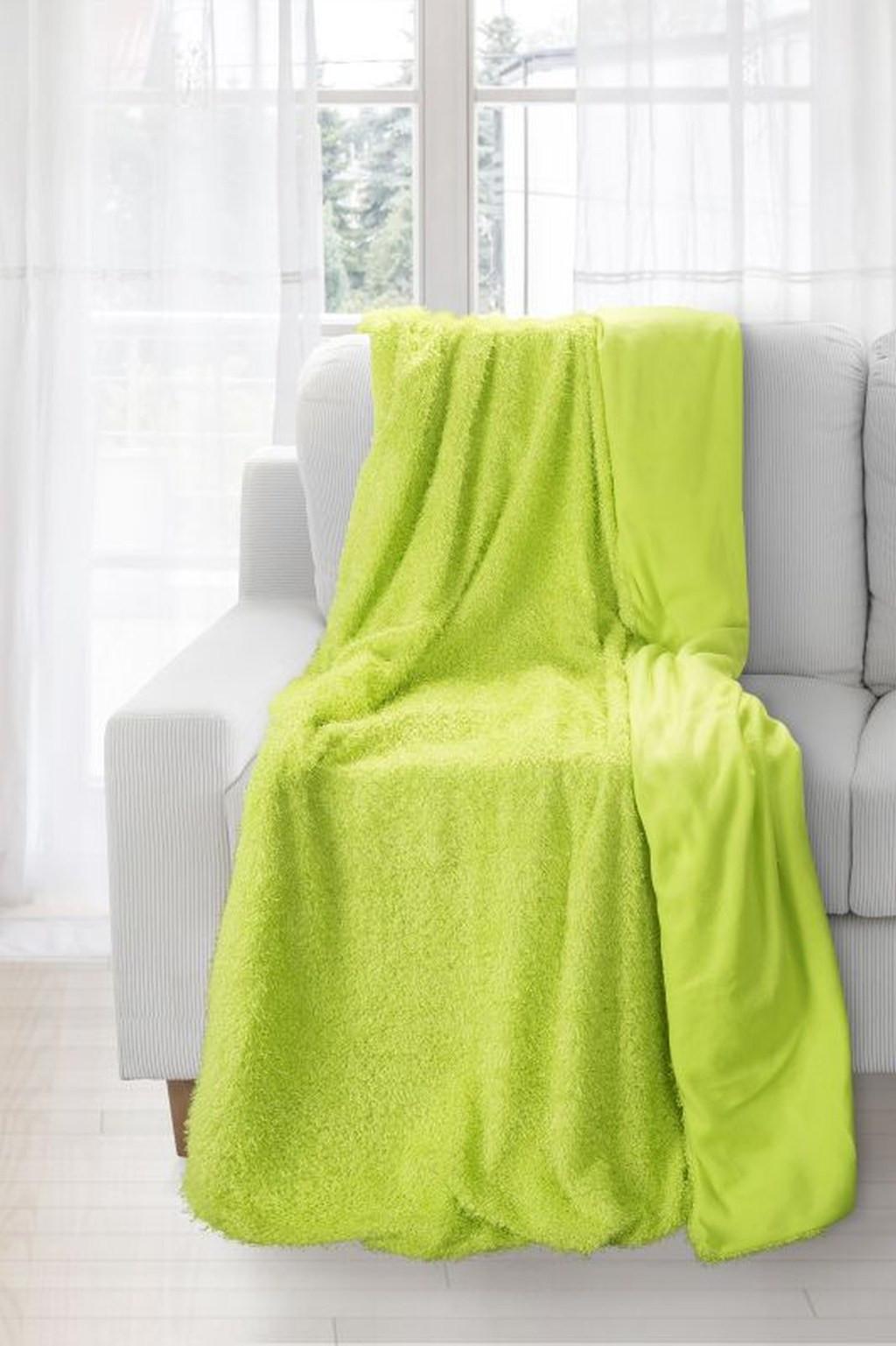 Moderná teplá zelená deka do obývačky Šírka: 70 cm. dł. 150 cm