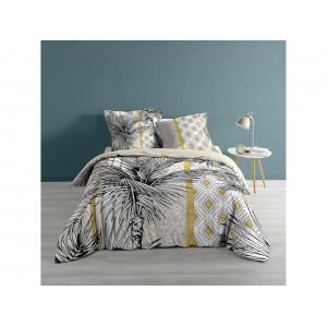Krásne exotické posteľné obliečky bielo žlté s motívom palmy 200 x 220 cm