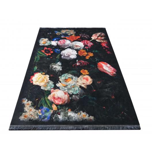 Fenomenálny čierny koberec do obývačky vo vintage štýle