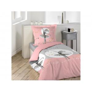 Kvalitné ružové detské bavlnené posteľné obliečky s baletkou 140 x 200 cm