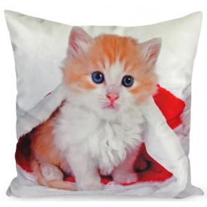 Roztomilá obliečka na vankúš mačiatko v mikulášskej čiapke