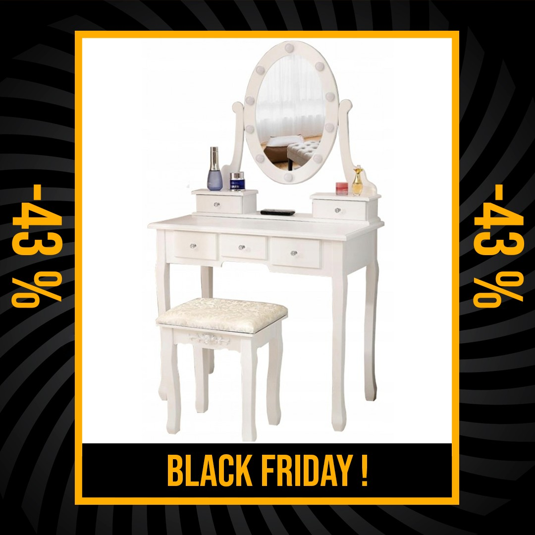 DomTextilu Luxusný biely toaletný stolík s osvetlením a taburetkou Black Friday 34344 Biela