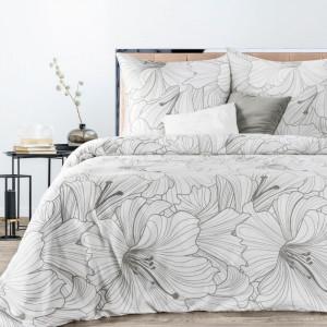 Biele posteľné obliečky s motívom šedých kvetov