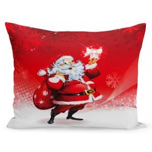 Vianočná obliečka na vankúš Santa a darčeky