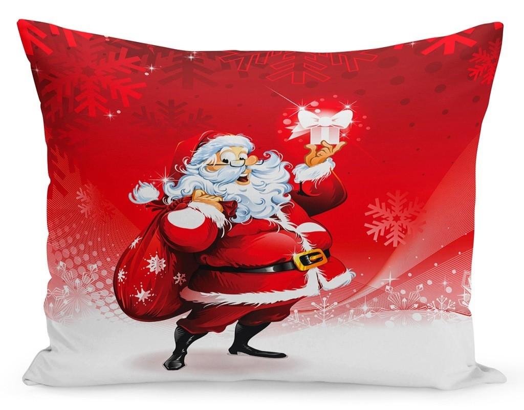 DomTextilu Vianočná obliečka na vankúš Santa a darčeky 70 x 80 cm 70 x 80cm Červená 34742-171767