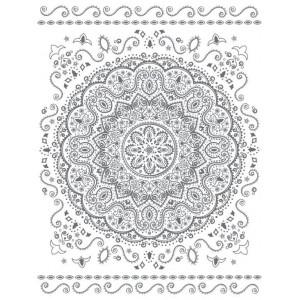 Nádherná biela bavlnená deka s motívom mandaly 150 x 200 cm