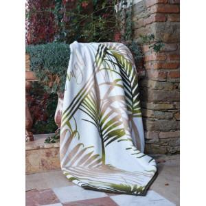 Kvalitná bavlnená biela deka s motívom listov