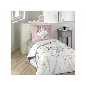 Detské bavlnené ružové posteľné obliečky s motívom jednorožca 140 x 200 cm