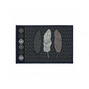 Origiálny koberec 40 x 60 cm v tmavých farbách s pierkami
