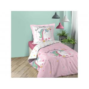 Krásne detské ružové posteľné obliečky s motívom jednorožca 140 x 200 cm