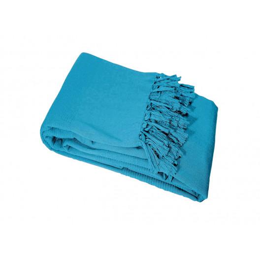 Krásna nebesko modrá deka so strapcami zo 100% bavlny 180 x 220 cm
