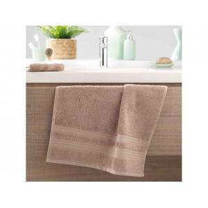 Kvalitný béžovo hnedý bavlnený uterák 50 x 90 cm