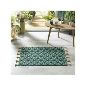 Zelený koberec do kúpelne  z bavlny 50 x 80 cm