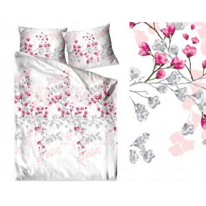 Biele posteľné obliečky s motívom kvitnúcich vetiev