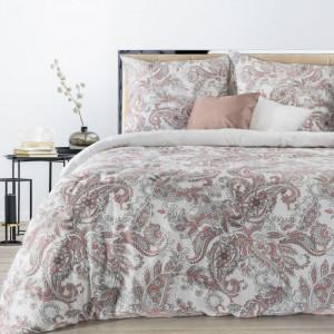 Biele posteľné obliečky s ružovými ornamentmi