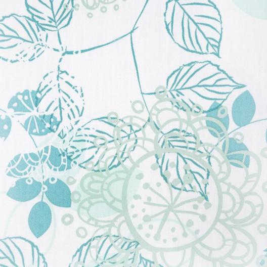 Biele posteľné obliečky s motívom listov v tykysovej farbe