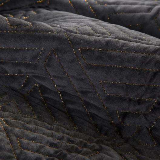 Luxusný čierny prehoz na posteľ prešívaný zlatou niťou