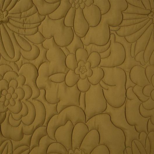 Matný žltý prehoz s potlačou kvetov