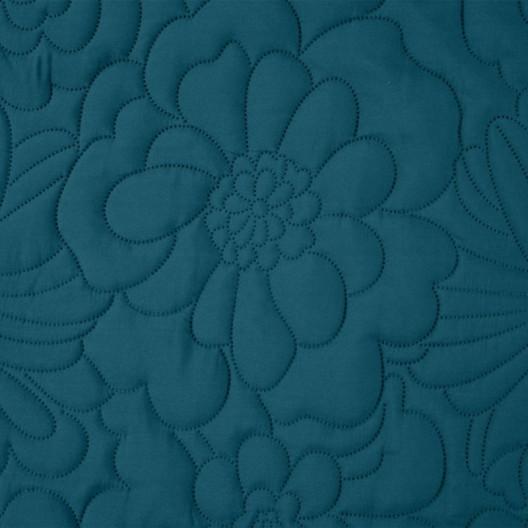 Matný modrý prehoz s potlačou kvetov