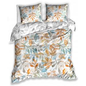 Bavlnené posteľné obliečky s motívom listov v teplých farbách