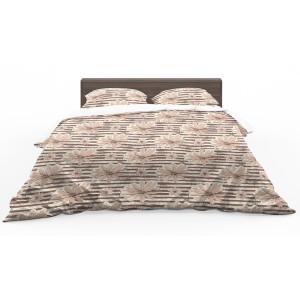 Hnedé obojstranné posteľné obliečky s motívom kvetov