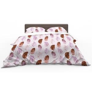Krásne bielo ružové obojstranné posteľné obliečky s pierkami