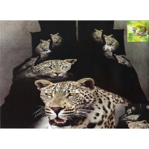 Čierna posteľná súprava obliečok s motívom geparda