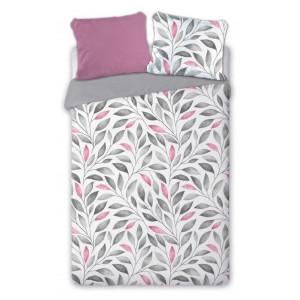 Šedoružové posteľné obliečky s motívom listov