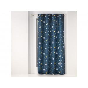 Moderný modrý záves do detskej izby s motívom vesmíru 140 x 260 cm